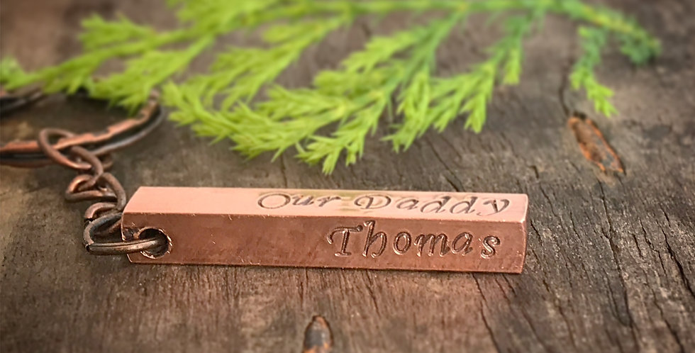 Personalised Copper Bar Keyring, Keychain Engraved with Your Words