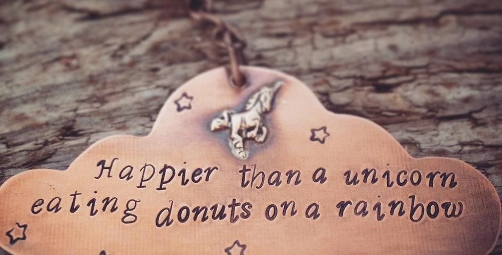 Cute Unicorn Keyring, Happier than a unicorn eating donuts on a rainbow