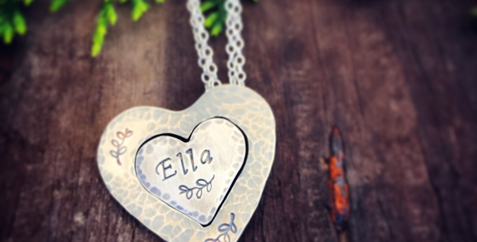 Sterling Silver Handmade Heart Necklace Set - Mother and Daughter Necklace Set