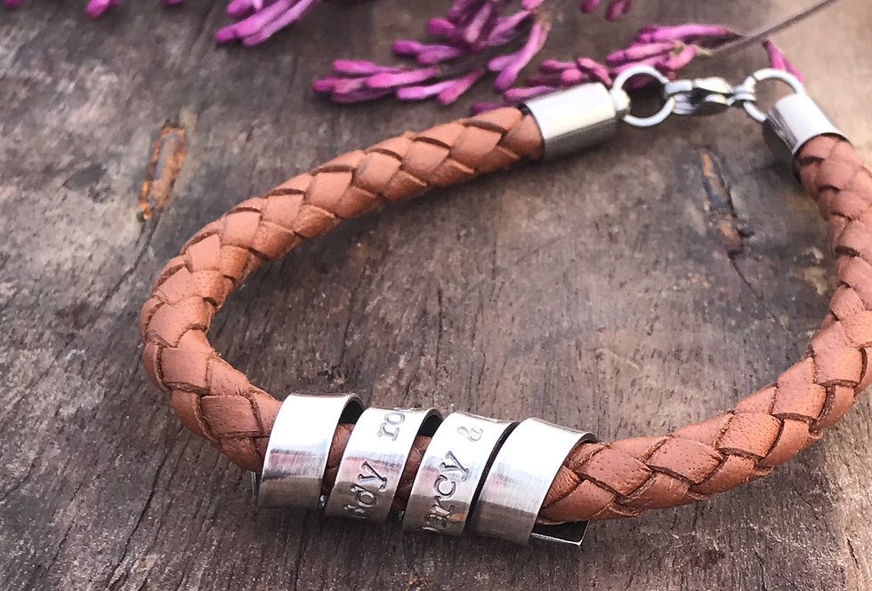 Personalised Leather Bracelet Men with Silver Message Scroll