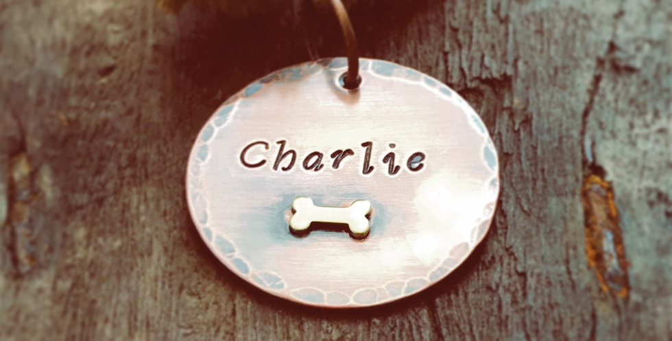 Custom Pet ID Tag, Personalised Copper Dogtag for Dogs Collar