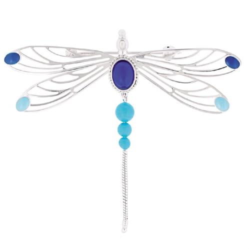 Lalique Alfinete Libellule Azul Safira