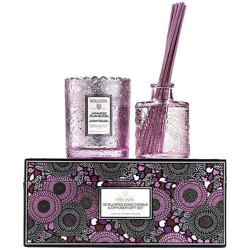 Voluspa Giftset Vela Perfumada + Difusor Japanese Plum Bloom
