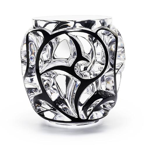 Lalique Vaso Grande Tourbillons Cristal Preto Esmaltado