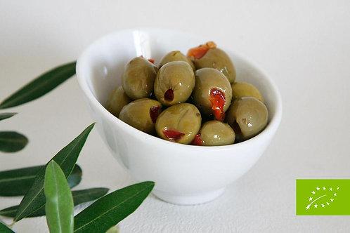 Olives vertes farcies au poivron - 200g