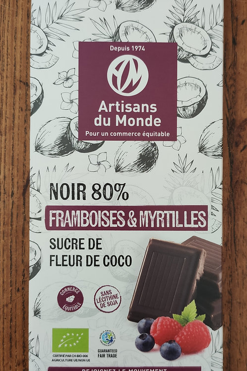 Chocolat Noir Framboise Myrtille - 100 g