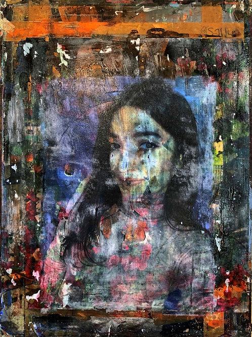 Armenian girl original painting, urban art from Pav Szymanski at Deep West Gallery