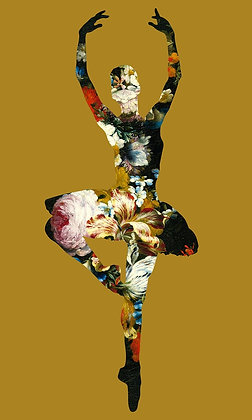 Flower portrait of ballet Dancer in Gold, Urban art by Agent X at Deep West Gallery