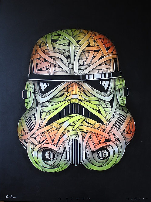 Storm  trooper, ribbons , spray painting from Otto Schade Street (Graffiti ) artwork at Deep West Gallery