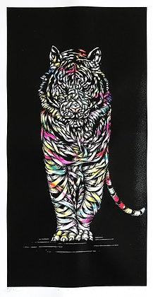 White tiger in pink, yellow, ribbons ,screen print from Otto Schade Street (Graffiti ) artwork at Deep West Gallery