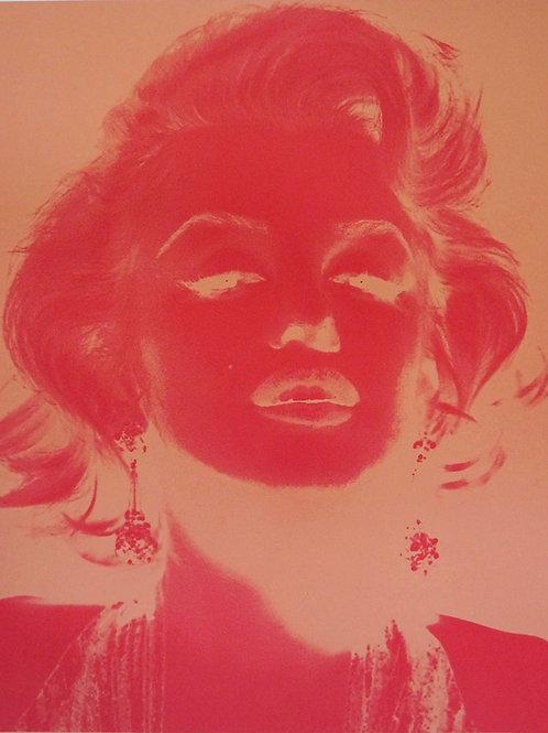 Marilyn Monroe portrait in pink silk print, urban art by David Studwell at Deep West Gallery