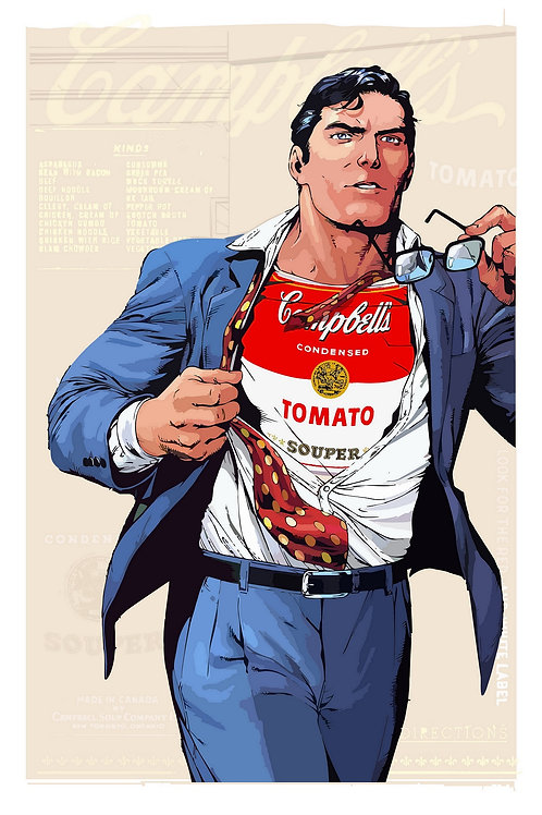 Superman, soup, star wars portrait, Giclee print from Tony Leone, digital and Pop art artwork at Deep West Gallery