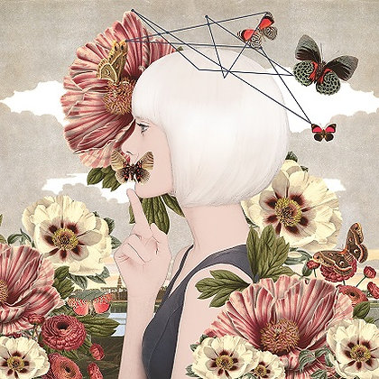 white haired girl portrait with butterflies and flowers, Street art, Urban art from Alexandra Gallagher at Deep West Gallery