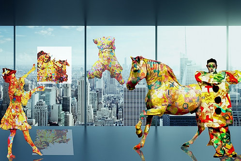 Horse audition digital painting canvas, Pop art by Gordon Coldwell at Deep West Gallery