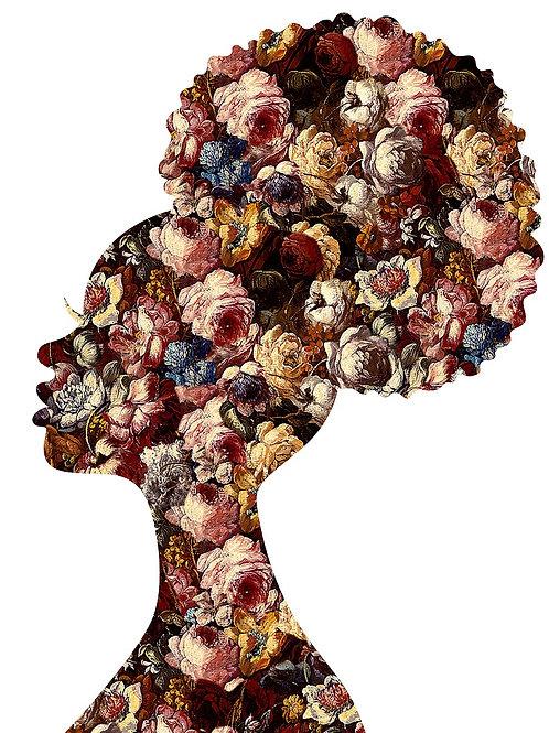 Flower portrait of  women in white , Urban art by Agent X at Deep West Gallery