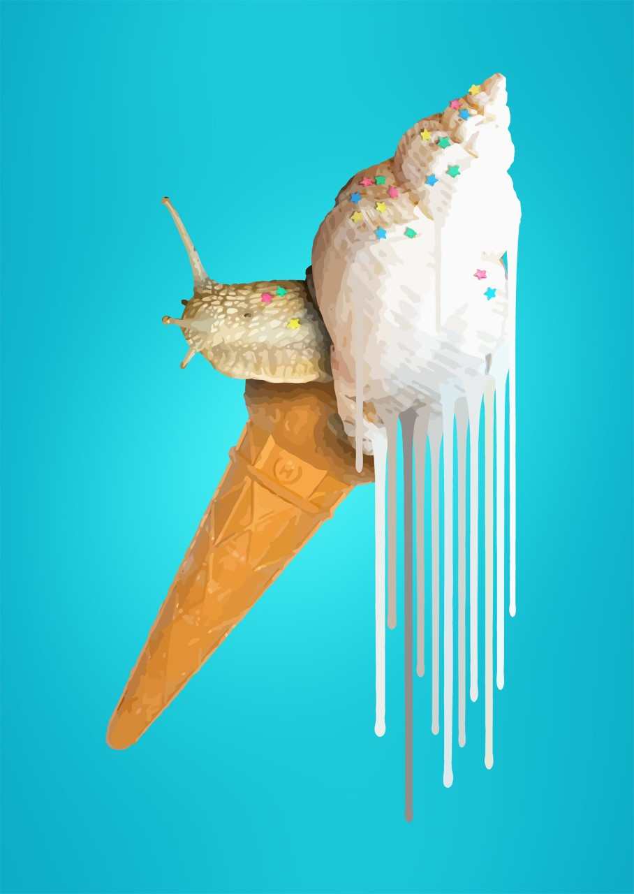 snail, ice cream