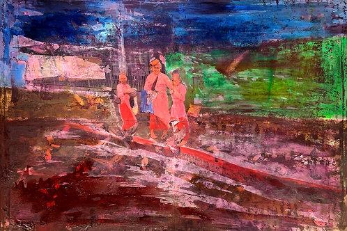 three monks begging original painting, urban art from Pav Szymanski at Deep West Gallery