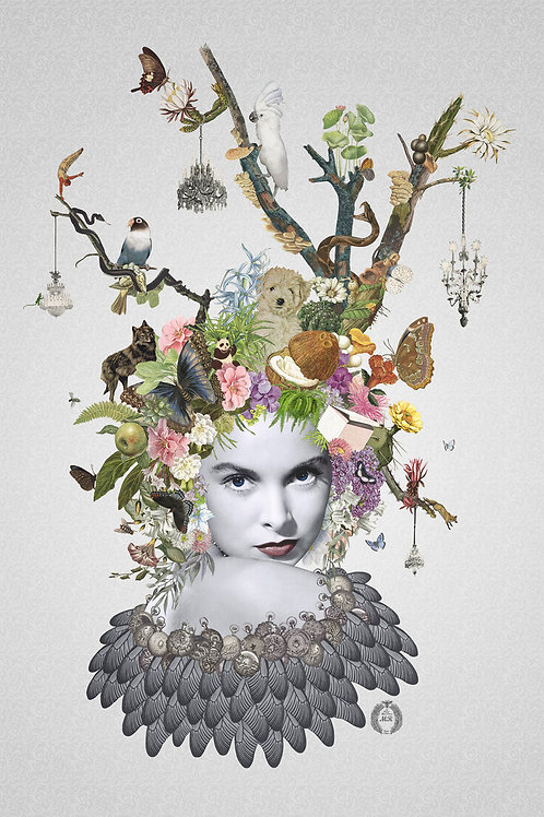 Eugenie Portrait  collage print - Maria Rivans artwork at Deep West Gallery