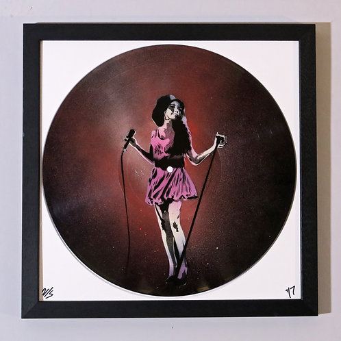 Amy Wineshouse, Spray Painting and Stencil on Vinyl Record, Street art, by Anna Jaxe at Deep West Gallery