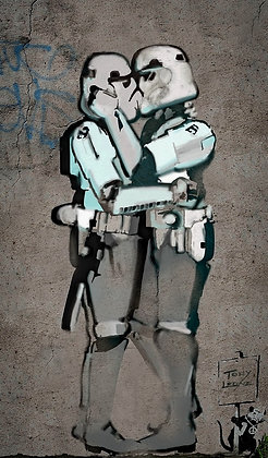 Kissing Clones, Star wars portrait, Giclee print from Tony Leone, Digital and Pop art artwork at Deep West Gallery