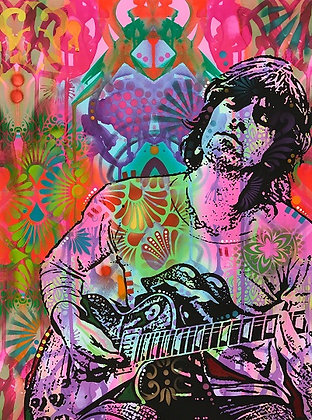 Keith Richard portrait- pink, Giclee print,  Street art by Dean Russo at Deep West Gallery