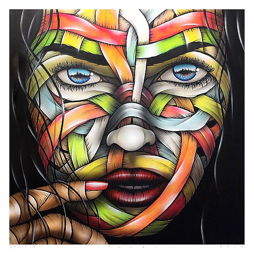 Her hometown, ribbons, portrait giclee print from Otto Schade Street (Graffiti ) artwork at Deep West Gallery