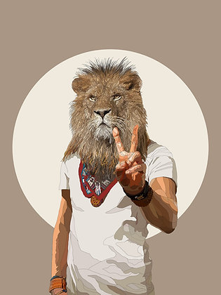 hybrid lion print from Paul Kingsley Squire Urban art artwork at Deep West Gallery