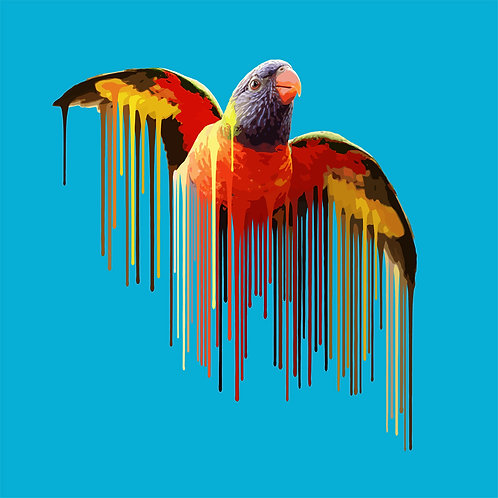 Parrot in Sky Blue, Giclee print, Pop art, Urban art,  by Carl Moore at Deep West Gallery