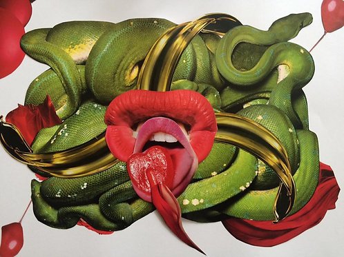 Snakes and red lips, print, urban and collage artwork by Lidwine Titli at Deep West Gallery