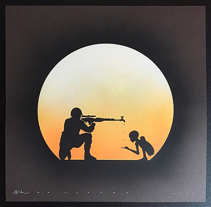 Gunman in Grey , spray painting from Otto Schade Street (Graffiti ) artwork at Deep West Gallery