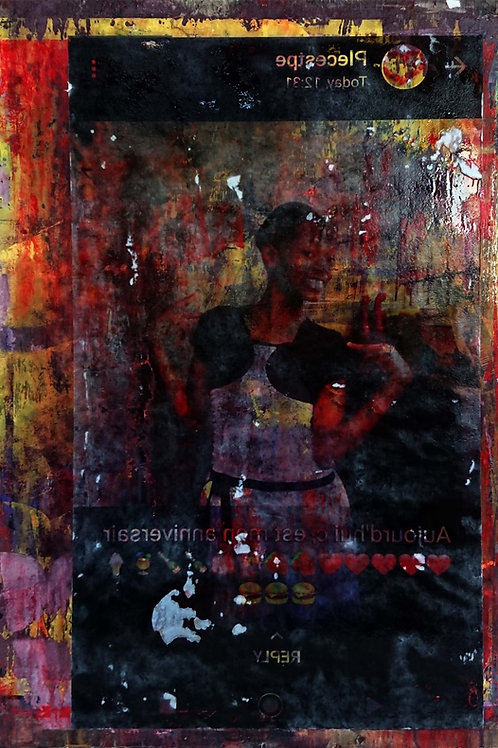 Disabled Haitian girl original painting, urban art from Pav Szymanski at Deep West Gallery