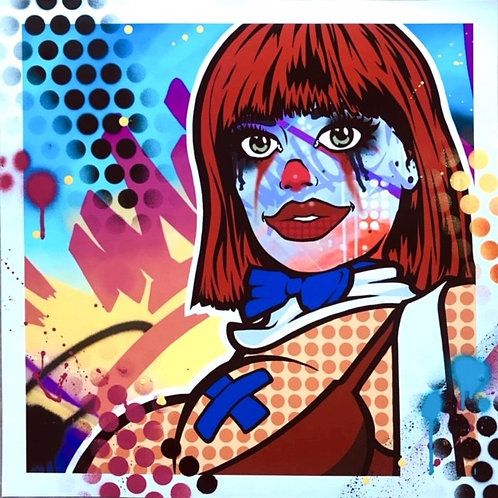clowniac girl print by graffiti artist  machOne at Deep West Gallery