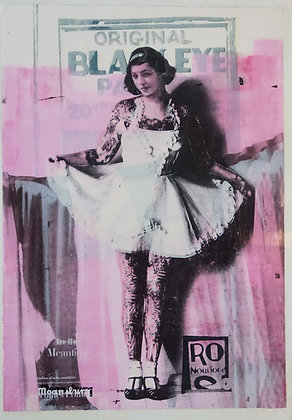 Waitress with aprons mixed media painting, Street art, by Crail Moansburg at Deep West Gallery