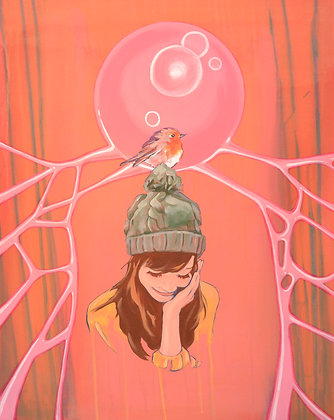 Girl with  bubble hat and bird,  Urban art  , original painting - Mark Hooley artwork at Deep West Gallery
