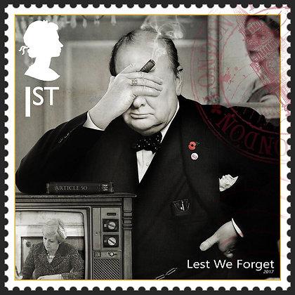 Winston Churchill, Prime Minster, Stamp from Gary John Jones digital artwork at Deep West Gallery