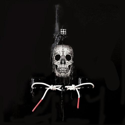 Skull, shoe lace spray painting from Zsolt Gyarmati Street (Graffiti ) original artwork at Deep West Gallery