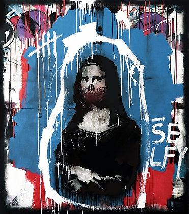 Monalisa Skull in black and blue spray painting from Zsolt Gyarmati Street (Graffiti ) original artwork at Deep West Gallery