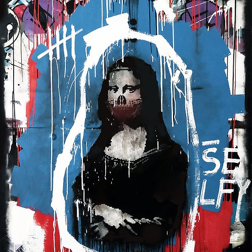 Monalisa Skull in black and blue spray painting from Zsolt Gyarmati Street (Graffiti ) original artwork at Deep West Gallery