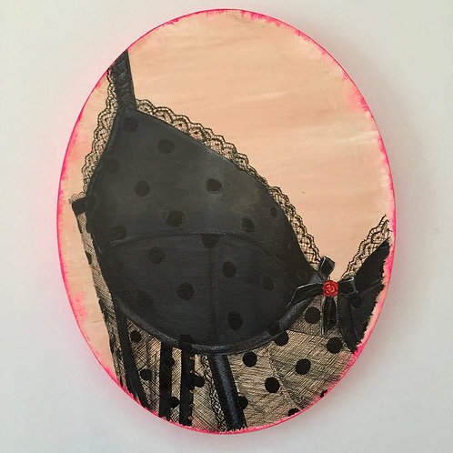 Polka dot Lingerie ovals original painting on canvas from Anne-Marie Ellis Contemporary art artwork at Deep West Galle
