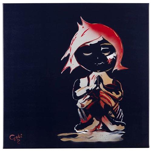 Praying Girl Portrait in Black,  original painting - Mini Gabi Urban artwork ,at Deep West Gallery