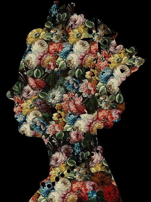 Flower Elizabeth Queen portrait in black, Urban art by Agent X at Deep West Gallery