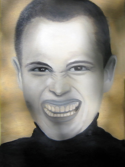 a screaming man portrait oil painting, urban art from Alfonso Ragone at Deep West Gallery