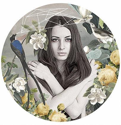 sexy beauty portrait with birds, flowers , Street art, Urban art from Alexandra Gallagher at Deep West Gallery