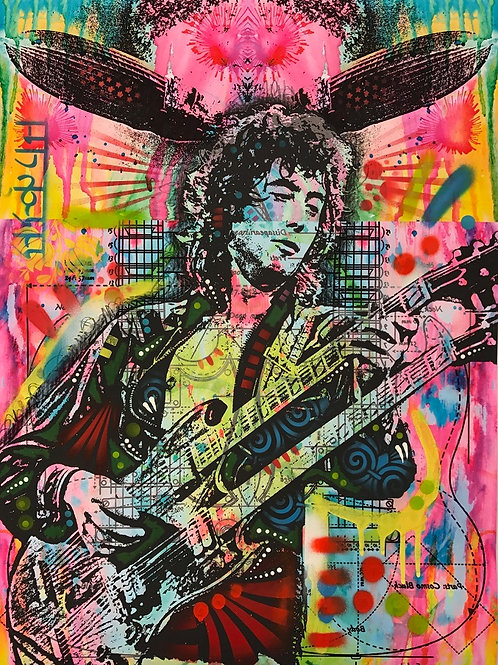 Jimmy Page Portrait, Giclee print, Street art by Dean Russo at Deep West Gallery