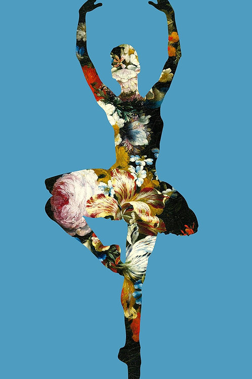 Flower portrait of ballet Dancer in sky blue, Urban art by Agent X at Deep West Gallery