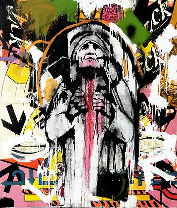 Fridgzoid spray painting from Zsolt Gyarmati Street (Graffiti ) original artwork at Deep West Gallery