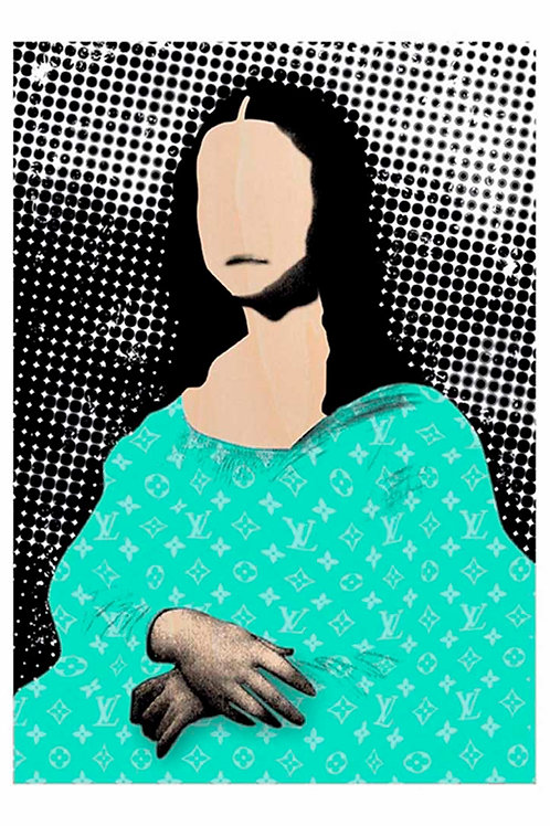 Mona lisa portrait in Green, LV brand, Digital art, urban artwork by Andrea Visconti at Deep West Gallery