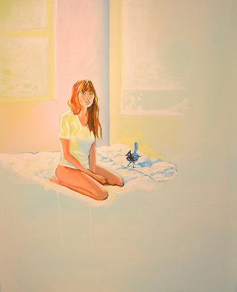 Girl , morning light,  Urban art  , original painting - Mark Hooley artwork at Deep West Gallery
