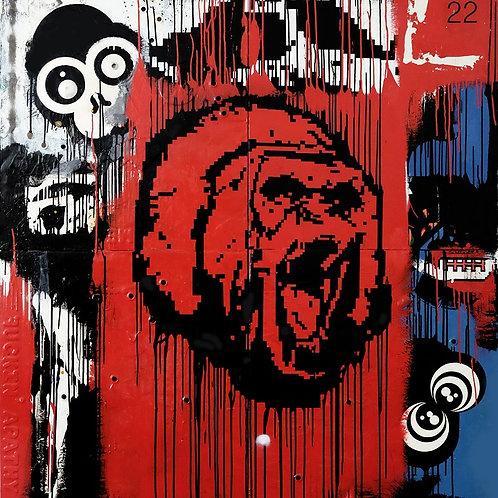 Red Gorilla  spray painting from Zsolt Gyarmati Street (Graffiti ) original artwork at Deep West Gallery