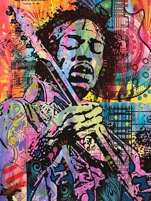 Jimi Hendrix Portrait, Giclee print, Street art by Dean Russo at Deep West Gallery